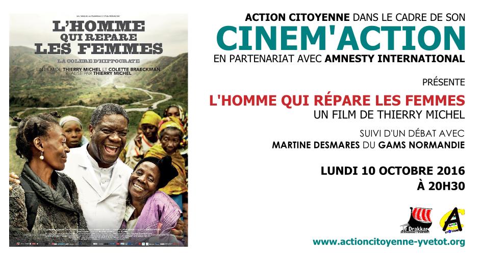 """CINEM'ACTION """"L'Homme qui répare les femmes"""" Yvetot #Normandie le 10 octobre, à 20 h 30"""