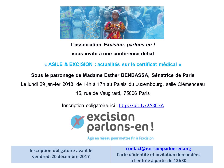 Asile et Excision – Actualités sur le Certificat Médical – Paris – 29 janvier 2018