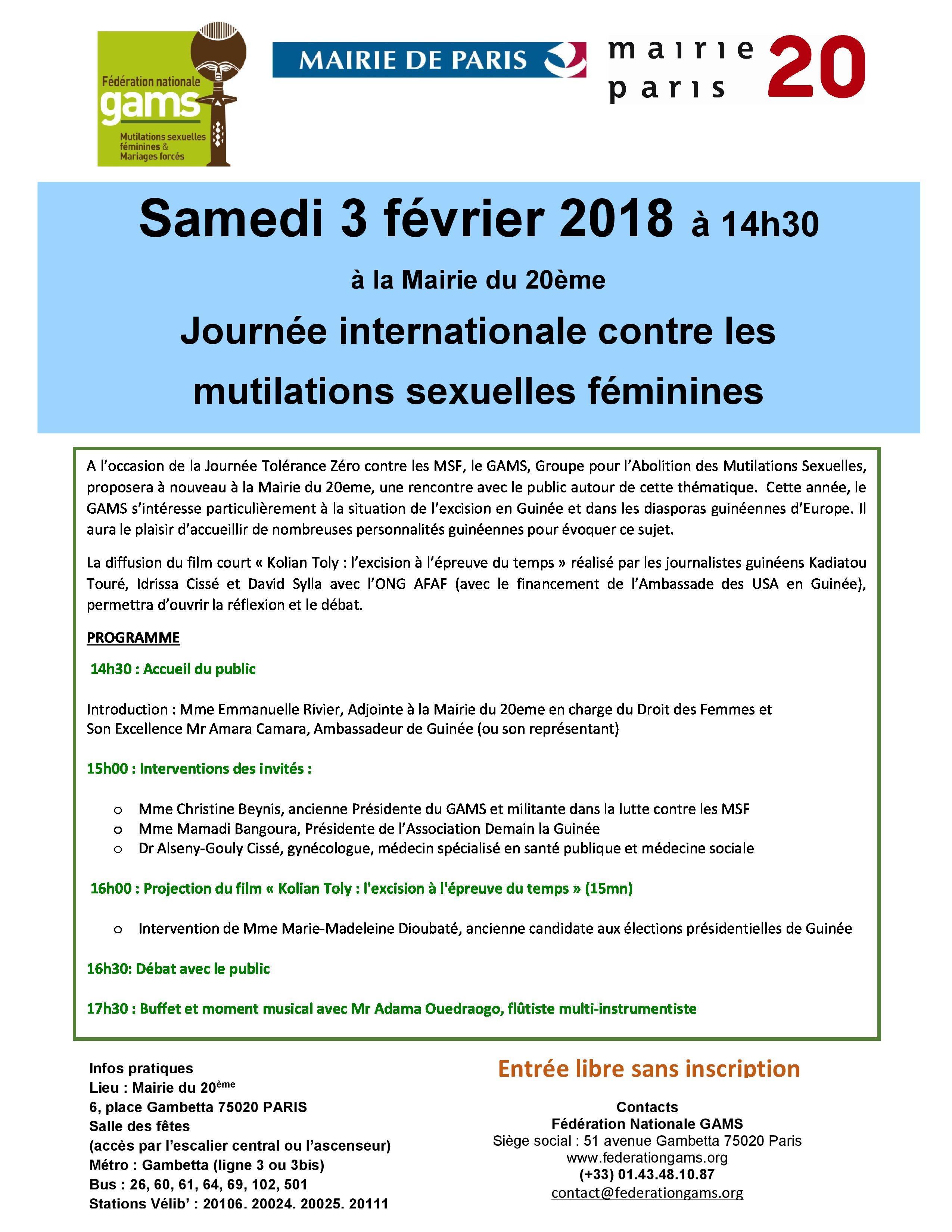 Journée internationale Tolérance Zéro aux Mutilations Sexuelles Féminines #3février2018 #Paris