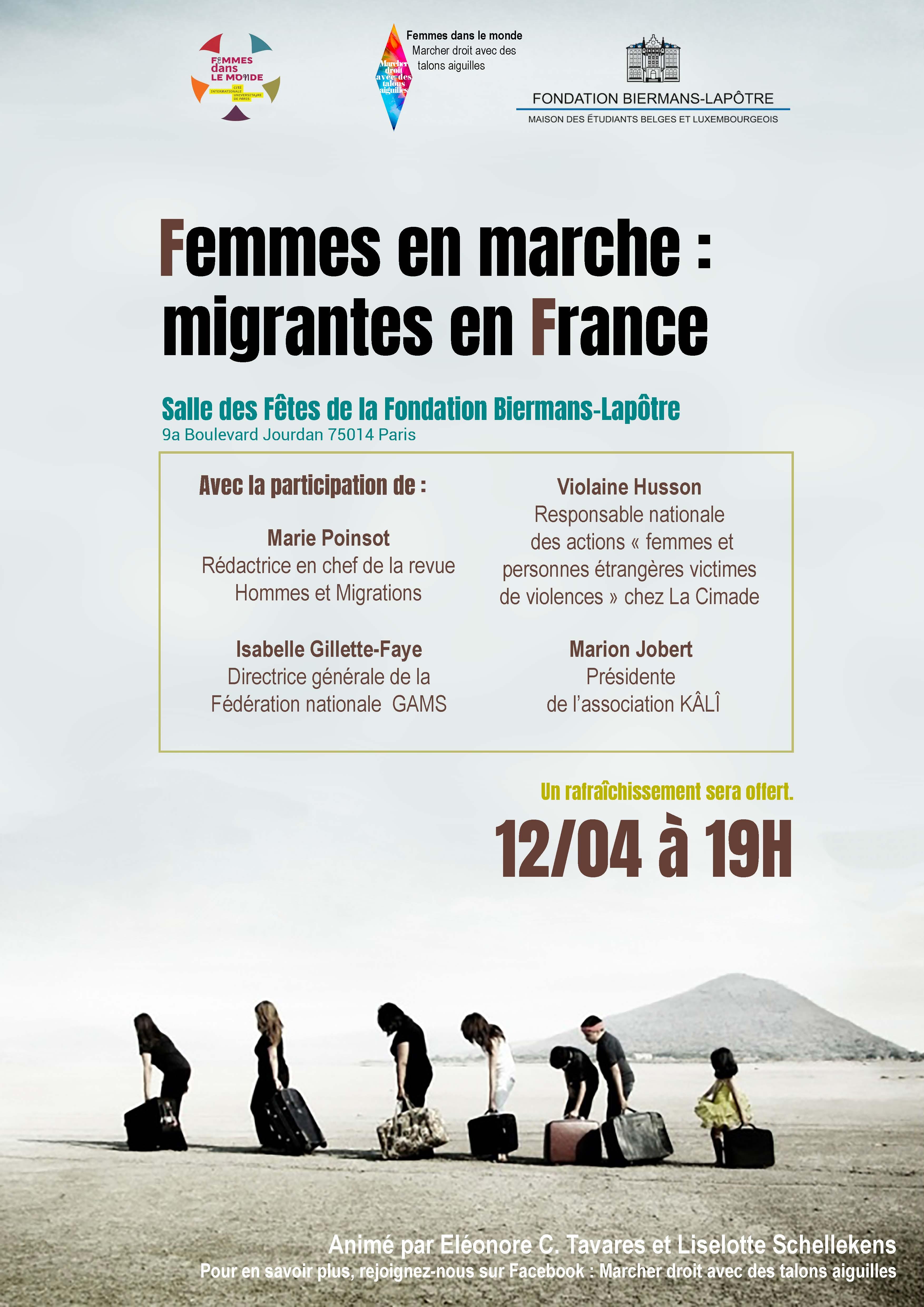 """""""Femmes en marche : Migrantes en France"""" #Conférences #Paris #jeudi12avril #19h00"""