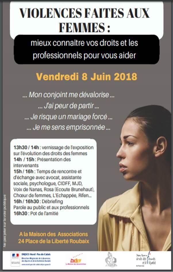 Violences faites aux femmes : mieux connaître vos droits et les professionnel.le.s pour vous aider ! #Roubaix
