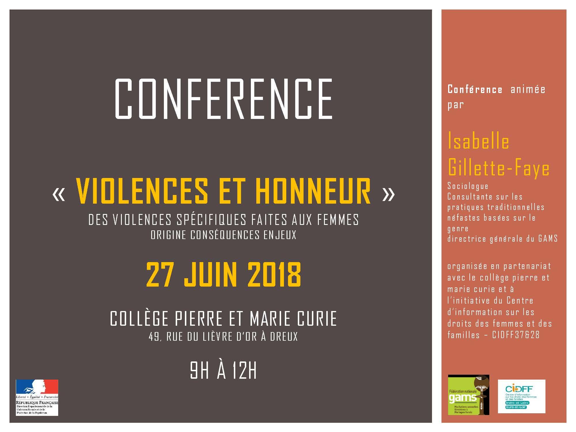 """""""Violences et honneur"""" Des violences spécifiques faites aux femmes #Dreux #27juin2018"""