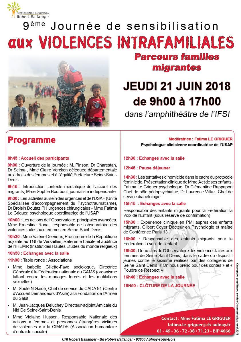 Journée de sensibilisation aux violences intrafamiliales sur le thème «Parcours familles migrantes» 21 juin