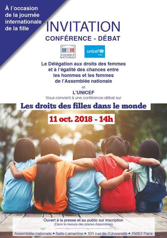 """Assemblée nationale – invitation conférence """"Les droits des filles dans le monde"""" – jeudi 11 octobre à 14h"""