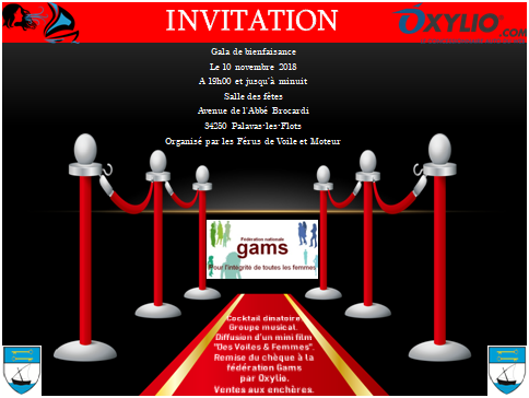 """Gala de bienfaisance organisée par """"Les Férus de Voile et Moteur""""au profit duGAMS #Palavas-les-Flots"""