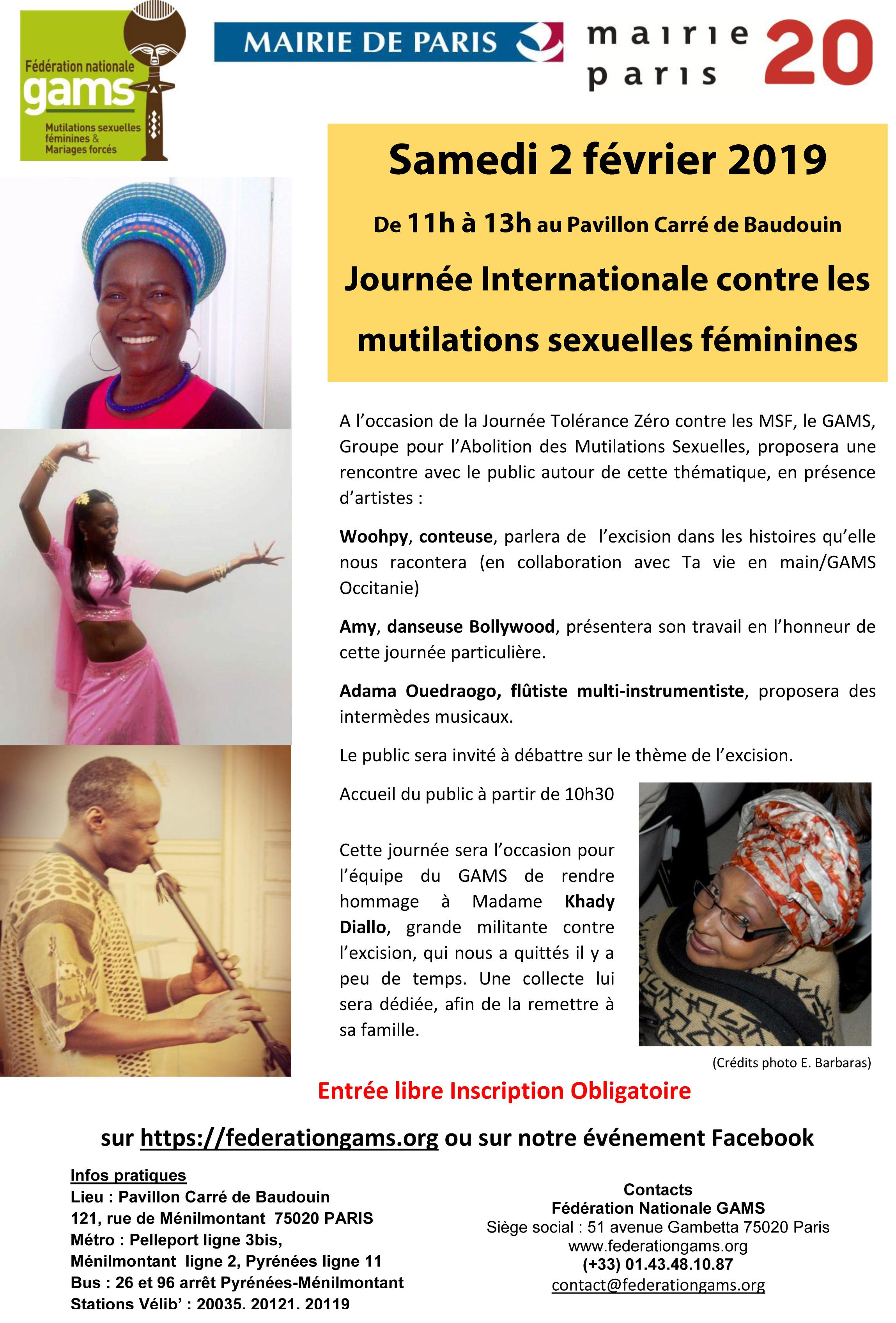 Journée Tolérance Zéro à l'Excision-2/02/2019-Paris-Hommage GAMS à Khady DIALLO