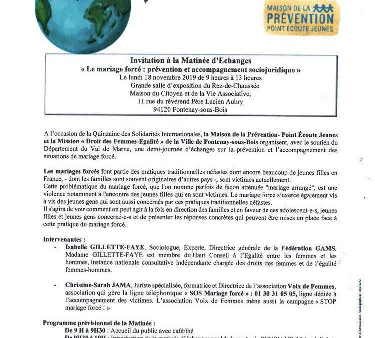 """""""Le Mariage forcé : prévention et accompagnement socio-juridique"""" – 18 novembre – Val-de-Marne"""