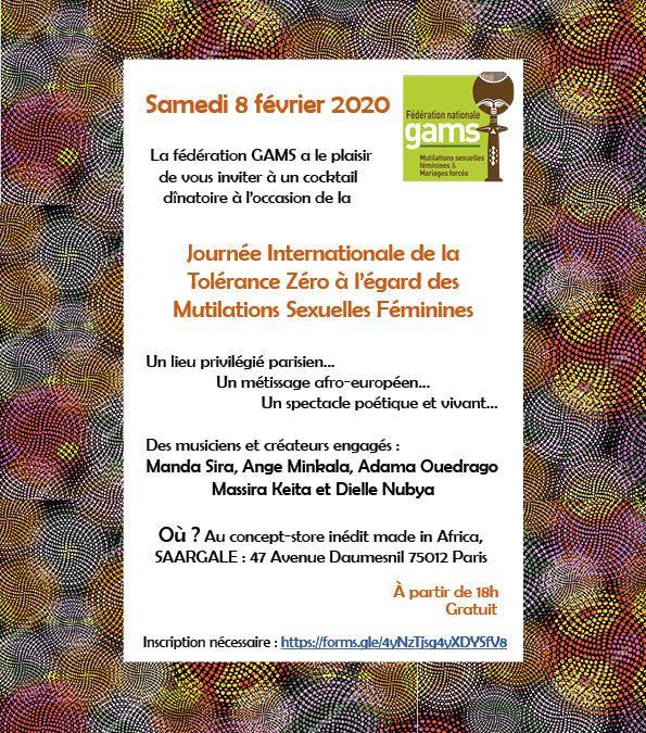 Tolérance Zéro des Mutilations Sexuelles Féminines – Cocktail spectacle dînatoire – 8 février – Paris
